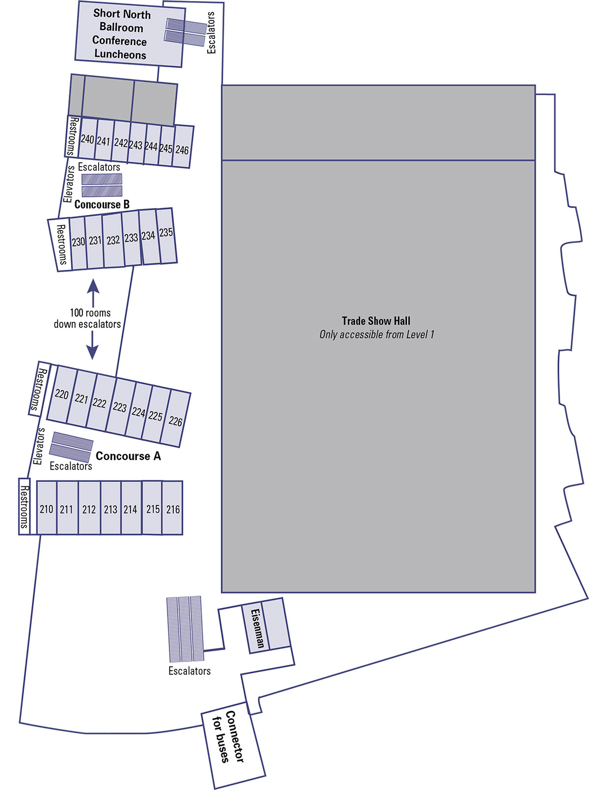Greater Columbus Convention Center Second Floor map